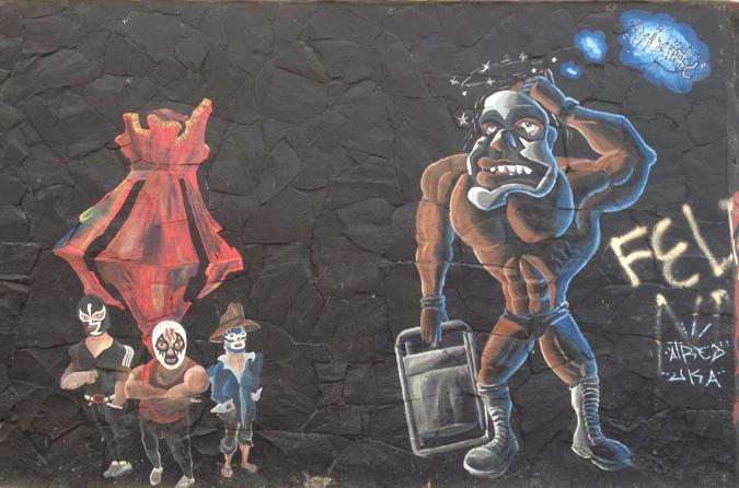 lucha libre street art in Guadalajara
