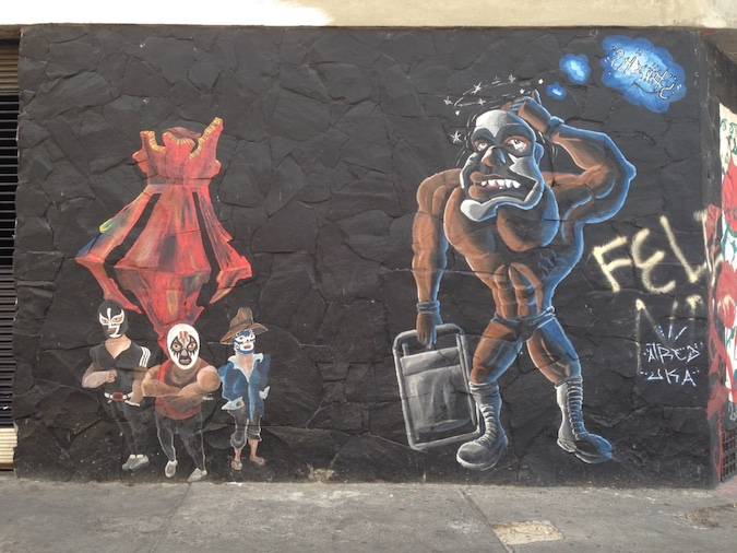 Street Graffiti of Mexican lucha libre wrestlers in Guadalajara